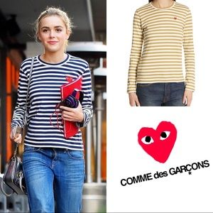 COMME des GARÇONS PLAY Stripe Tee in Olive